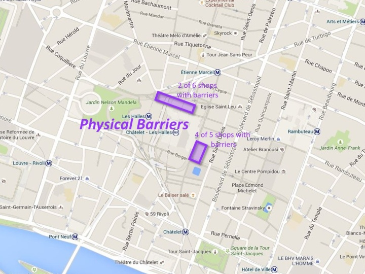 Here are the physical barriers we identified  in front of businesses along Rue Lescot and Rue Rambuteau.