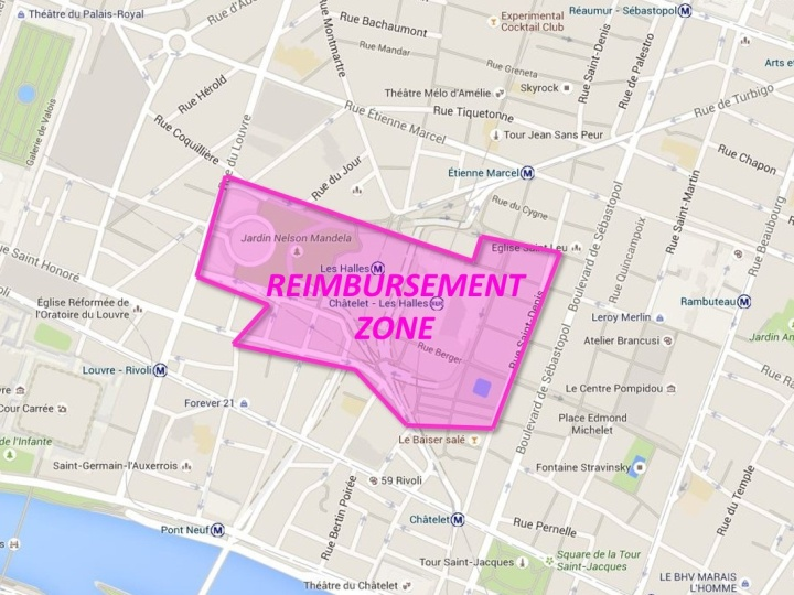 This is the zone in which business that suffer a loss due to the construction at Les Halles will be reimbursed.