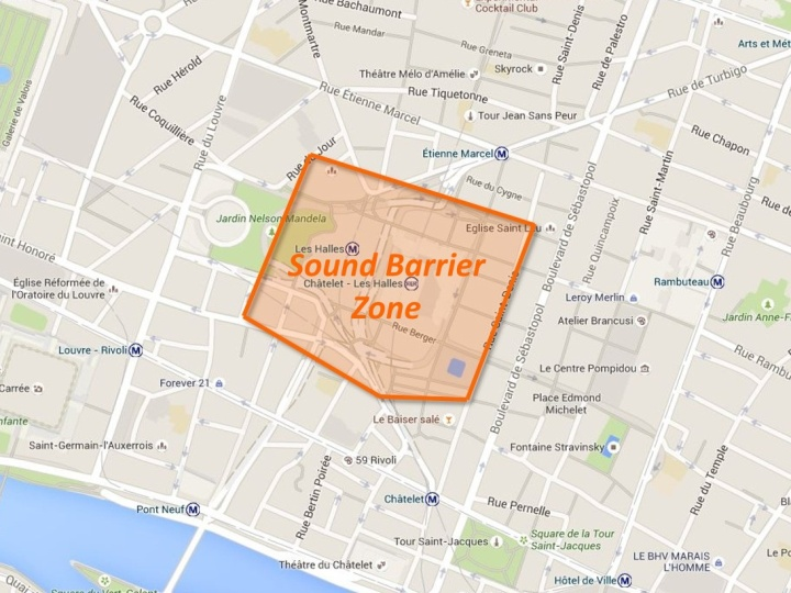 Here is the zone we identified to be affected by construction noise from Les Halles.