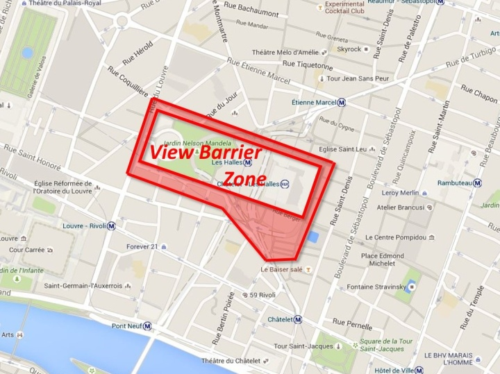 This is the zone we determined to be affected by a view barrier from the Les Halles construction.