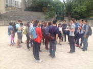 Students guide each other around the 5th arrondissement