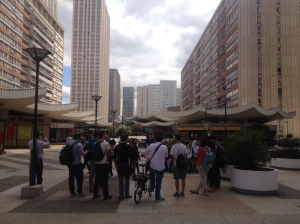 Students guide each other around the 13th arrondissement