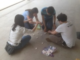 Students practiced teamwork and creativity through a pasta-and-marshmallow tower-building exercise